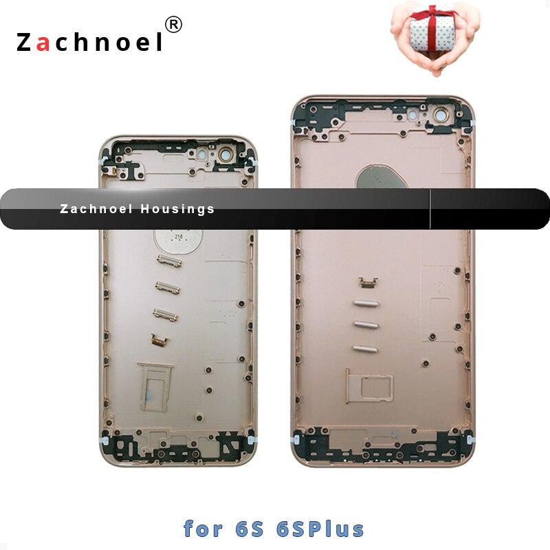Carcasa trasera para iPhone 6 iPhone 6 6 s 6 sPlus Plus puerta de la batería cubierta de Marco medio cuerpo de chasis de oro negro plata libre IMEI