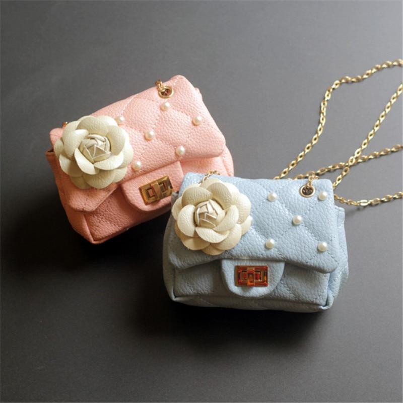 Fashion Kids Mini Handbag Leather Cute Baby Girls Princess Flower Messenger Bag Children Pearl Shoulder Bag Chain Purse gift