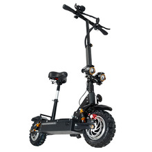Janobike electric scooter double drive with seat 60V/3200W adult fast folding scooter 11 inch road tire electric city scooter kick scooter with disc brake for adults teens handbrake scooter push folding scooter 8 inch wheels perfect for urban city