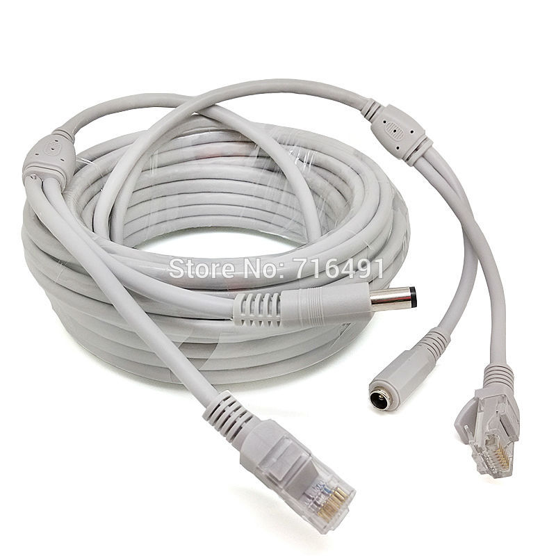 CAT5/CAT-5e CCTV network Lan Cable 131ft/40M Ethernet Cable RJ45+DC Power For nvr Network Video Recorder system IP Camera Gray