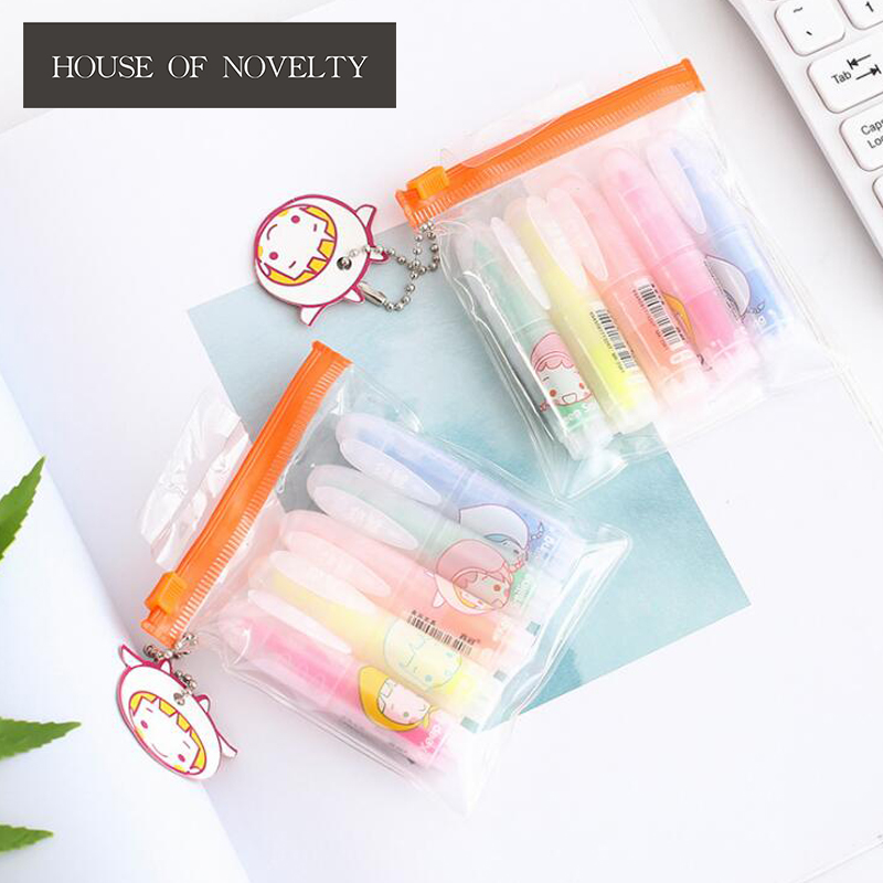 Smile Girl Mini Colorful Candy Color Highlighters Promotional Markers Gift Stationery 6 pcs lot candy color highlighters gel pen promotional gift stationery school
