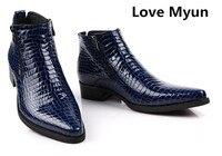 Осенне зимняя обувь Новые мужские из коровьей кожи ботильоны с острым носком натуральная кожа мужские ботинки офисные сапоги Обувь с высок