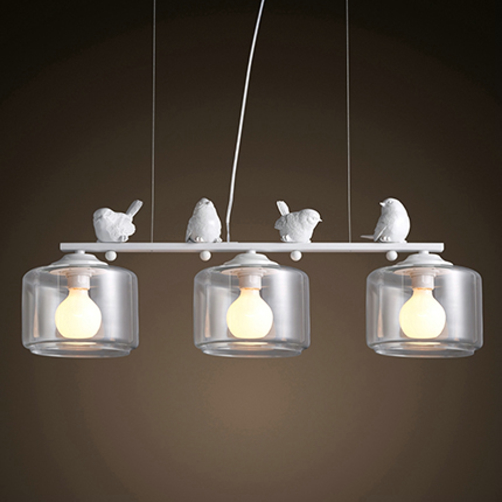 Modern Iron Pendant Light with Decorative Resin birds 3 Lights. Glass shade Dining Room Suspension Lamp White Color Bar Light