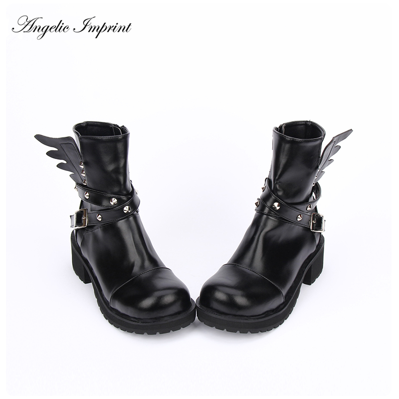Women's Rivet Buckle Strap & Wings PU Leather Square Heels Punk Boots cupless buckle rivet leather corset
