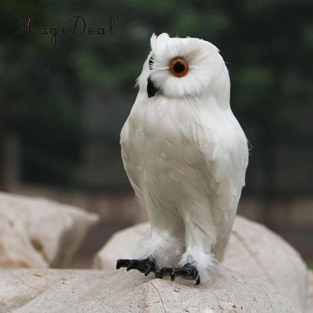 MagiDeal Fake Artificial Owl Bird Feather Realistic Taxidermy Home Garden  Decor White Garden Crafts Decorations Accessories