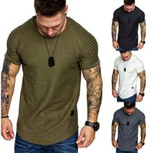 Mens T-Shirt Solid Color Striped Pleated Shoulder Tees Sport Casual Short Sleeves Cotton Tee Tops Round Neck Tshirt