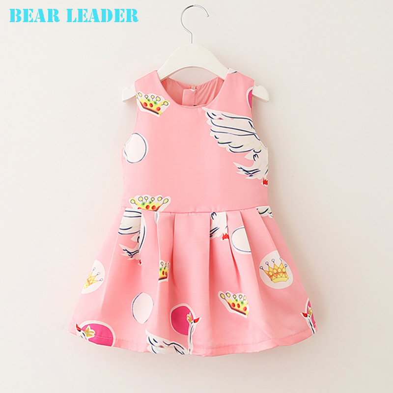 Bear Leader Girls Dress 2018 Brand Girl Swan Design Sleeveless Princess Dress for Girls Clothes Kids Dress Children Clothes bear leader girls dress 2016 brand princess dress kids clothes sleeveless red rose print design for grils more style clothes