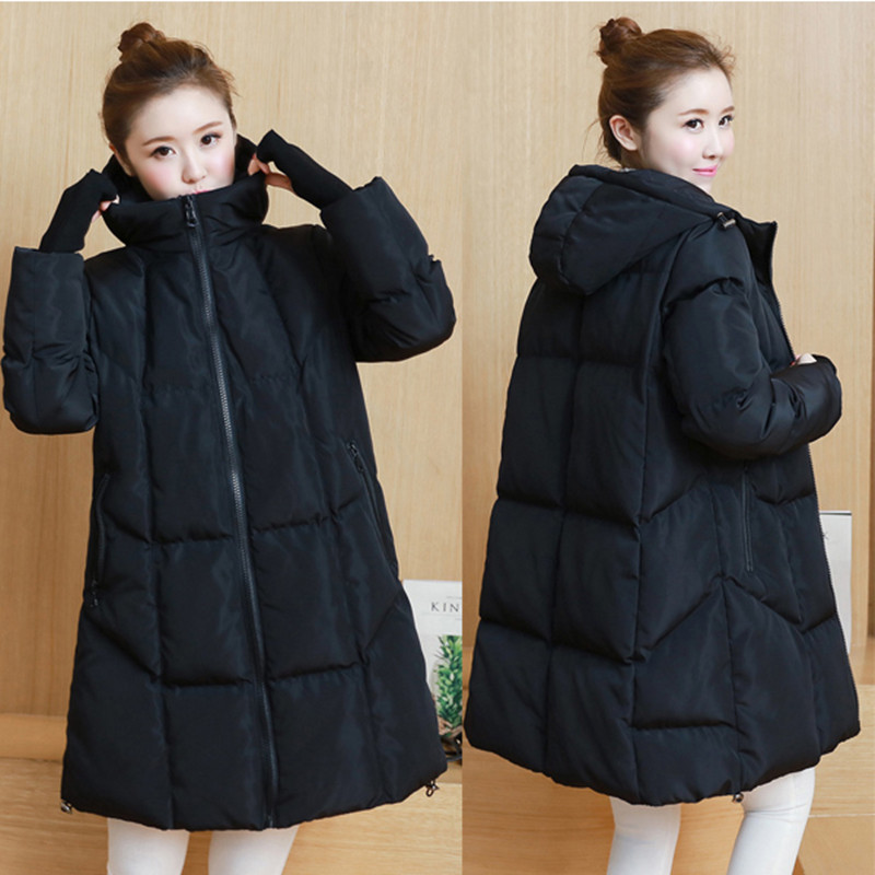 Maternity clothing winter maternity 2017 wadded jacket cotton-padded jacket medium-long loose plus size maternity down coat linenall women parkas loose medium long slanting lapel wadded jacket outerwear female plus size vintage cotton padded jacket ym