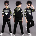 Children's clothing 2017 spring Camouflage set teenage boys clothes child spring& autumn sportswear twinset kids boy hoodies