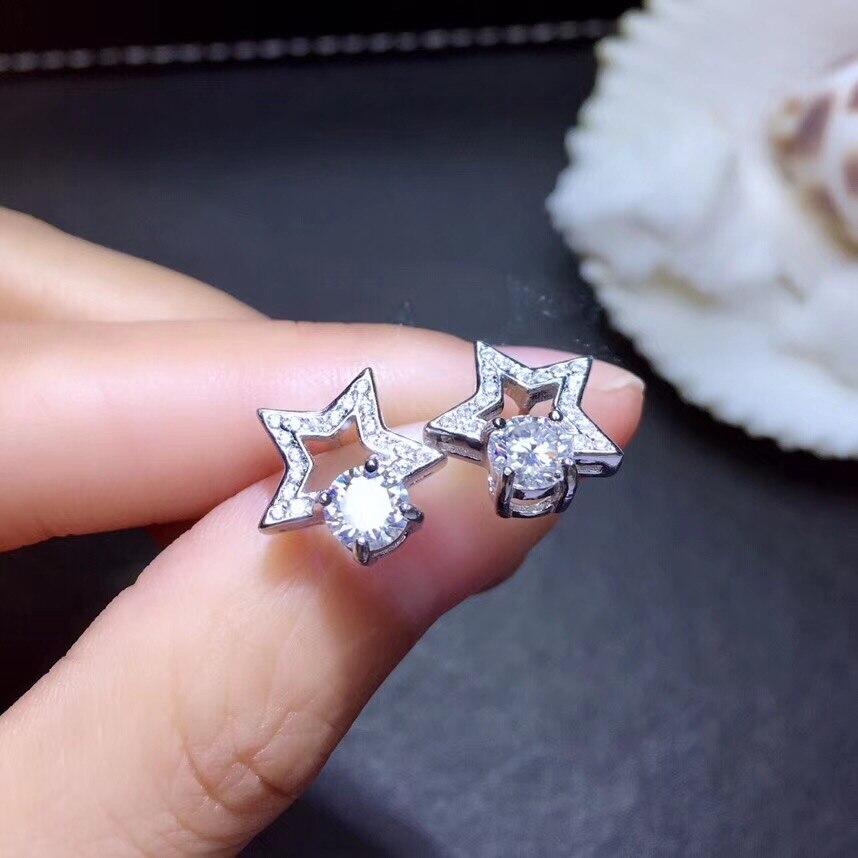 Femmes gemme boucles d'oreilles attrayant étoile forme gletant moissanite pierres précieuses boucles d'oreilles en argent sterling 925 boucles d'oreilles fille fête cadeau