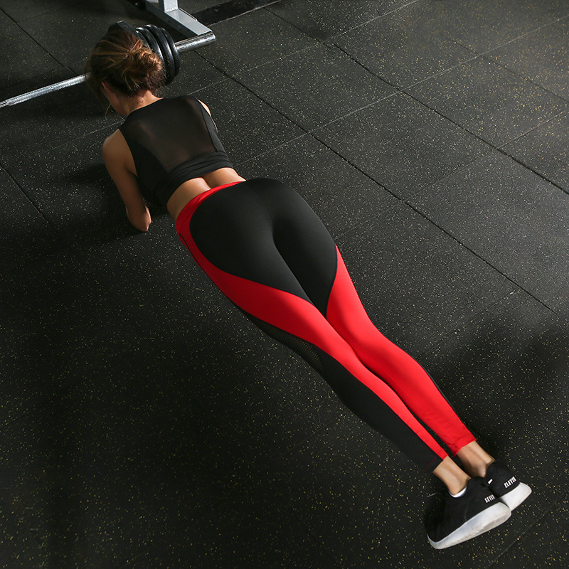 EOEODOIT Fashion Heart Shape Patchwork Fitness   Legging   Net Women Workout Jeggin Hip Push Up Pants Elasticity Sport   Leggings
