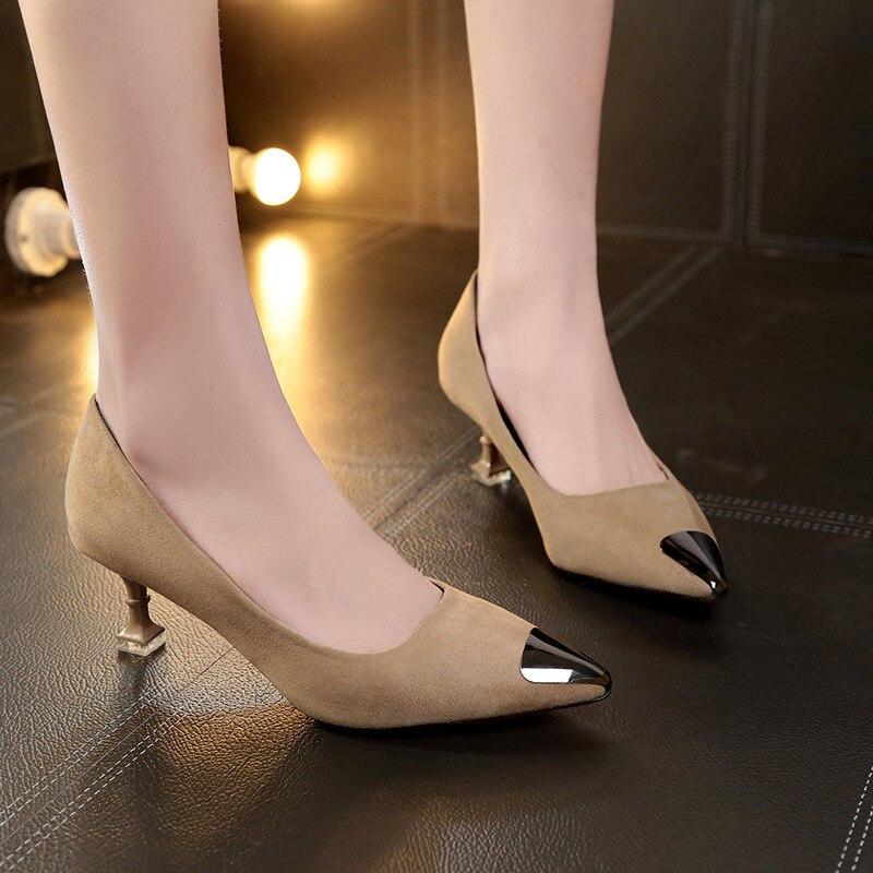 caqui Tacón Sexy Zapatos Negro Alto 2019 rojo Moda Mujer Punta Mujeres Fino Bombas De Las 0Iwfqt6R
