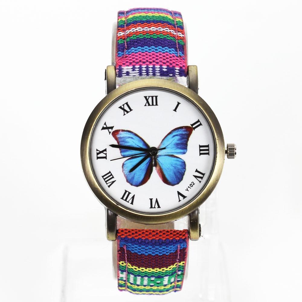 Női pillangó Virág Divat órák Vászon Watchband álcázó zenekar Női Montre Femme Sport kvarc karóra