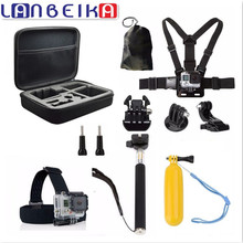 LANBEIKA Para Accesorios Gopro Bolsa de Almacenamiento Caso Correa Para El Pecho 11-en-1 Kits para Gopro Hero 5 4 3 + SJCAM SJ5000 M20 SJ6 SJ7 cámara