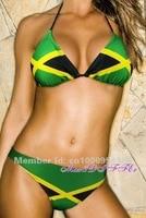 Free shipping Hot sexy new Caribbean Jamaica flag padded ladies bikini swimwear SWIMSUIT size M L XL XXL shipping within 24hs