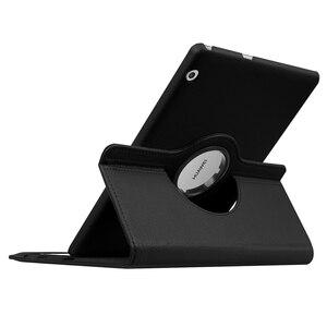 360 obracanie liczi klapki skórzane etui z podstawką dla Huawei MediaPad T5 10 AGS2-W09/L09/L03/W19 10.1 cal pokrowiec na tableta + Film długopis