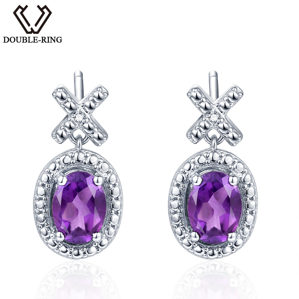 diamonds oval earrings gemstone earring stone and diamond amethyst birgie