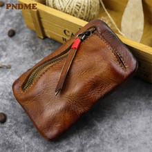 PNDME vintage small top layer leather coin purse simple handmade soft genuine mini luxury zipper money and cards bags