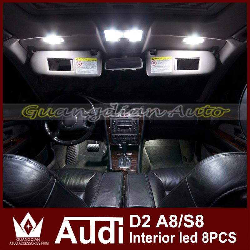 Tcart 8pcs Error Free Auto LED Bulbs Car Interior Lighting Kit White  Reading Lamps Dome Light For Audi D2 A8 S8 Car Accessories