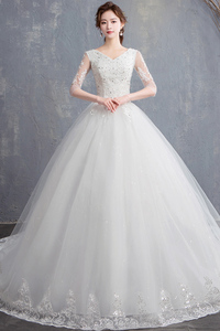 Image 4 - EZKUNTZA 2019 ใหม่ V เซ็กซี่ V คอต่อท้ายแต่งงานชุดดอกไม้หวานเจ้าหญิงสีขาว Lace Up Slim ชุดแต่งงาน Casamento L
