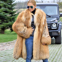 2019New Fashion Women Real Red Fox Fur Coat With Hood And Turn down collar Ladies Genuine Fox Outerwear Spring Natural Fur Coats