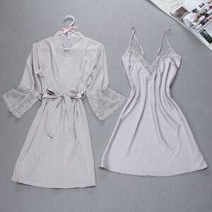 Image 3 - Fiklyc brand sexy womens robe & gown sets twinest bathrobe + mini night dress two pieces sleepwear womens sleep set faux silk