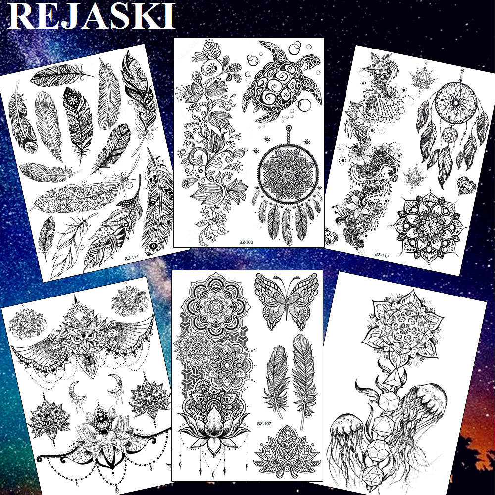 Beauty & Health Rejaski Turtle Dream Catcher Rattan Temporary Tattoos For Women Sticker Black Henna Feather Lotus Fake Tatoos Waist Art Tattoo