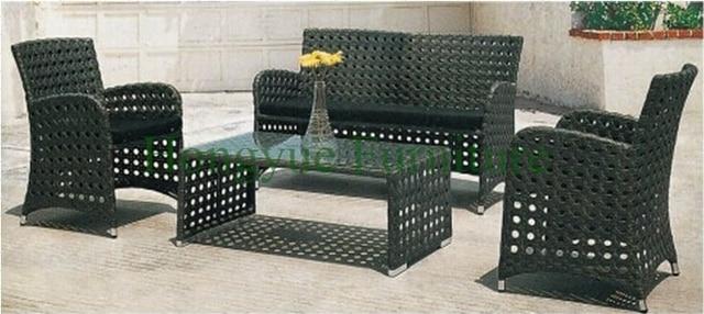 Patio de mimbre exterior perforado conjunto de sofás, muebles de ...