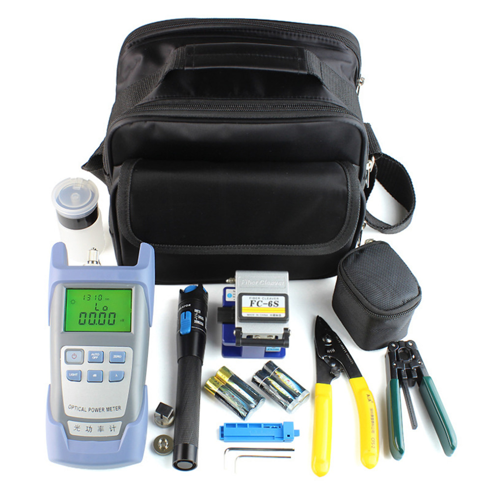 15pcs/set Fiber Optic FTTH Tool Kit with Fiber Cleaver and Optical Power Meter 5km Visual Fault Locator Wire Stripper Hot Sale mt 7601 fiber optic power meter laser fiber optic tester optical fiber power meter automatic identification frequency