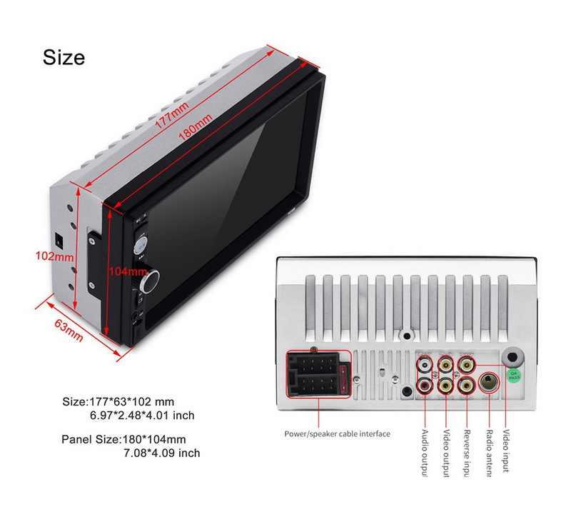 Leitor de cassetes de rádio aux bluetooth com função mirrorlink leitor de cassete do rádio do carro de 7 polegadas jogador 2 din autoradio fm/usb/tf da tela de toque