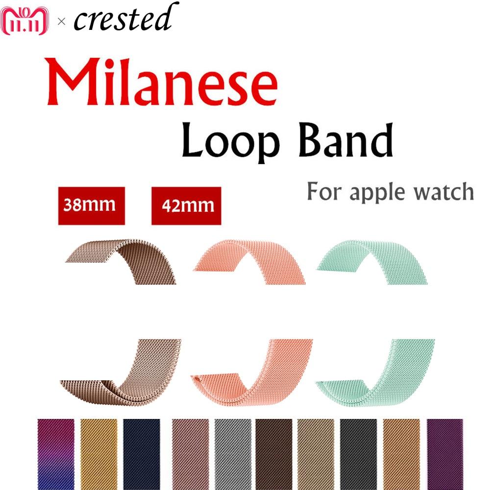 Correa de correa de lazo Milanese para Apple Watch series 4/3/2/1 42mm/38mm/44mm/40mm iwatch correa de pulsera de acero inoxidable