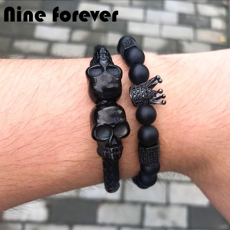 Nine forever Natural Stone beads bracelet men jewelry Imperial crown & Stoppers hexago charm bracelets pulseira masculina skull forever bracelet