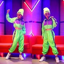 Crianças hip hop dança wear meninas jazz moderno trajes de dança fluorescência roupas ternos crianças trajes de palco dqs2135