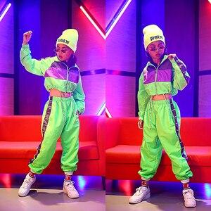 Image 1 - Dla dzieci taniec Hip Hop nosić dziewczyny Jazz nowoczesny taniec kostiumy fluorescencji odzież garnitury dla dzieci kostiumy sceniczne stroje DQS2135