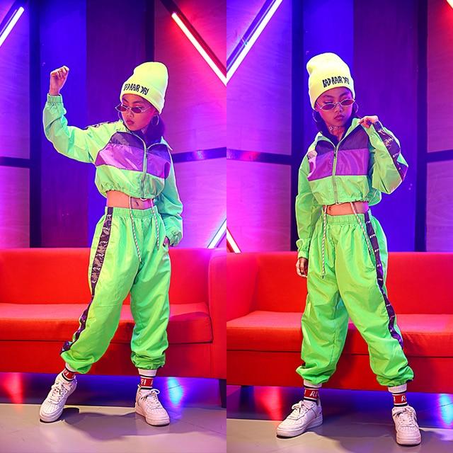 Dla dzieci taniec Hip Hop nosić dziewczyny Jazz nowoczesny taniec kostiumy fluorescencji odzież garnitury dla dzieci kostiumy sceniczne stroje DQS2135