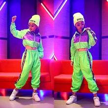 Ropa de baile de Hip Hop para niños trajes de Danza moderna de Jazz para niñas, ropa fluorescente, trajes de escenario para niños, DQS2135