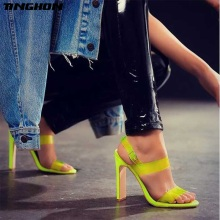 TINGHON Fashion 8.5CM High Heels Peep Toe Transparent PVC Sandals Summer Pumps Womens Shoes Buckle Strap