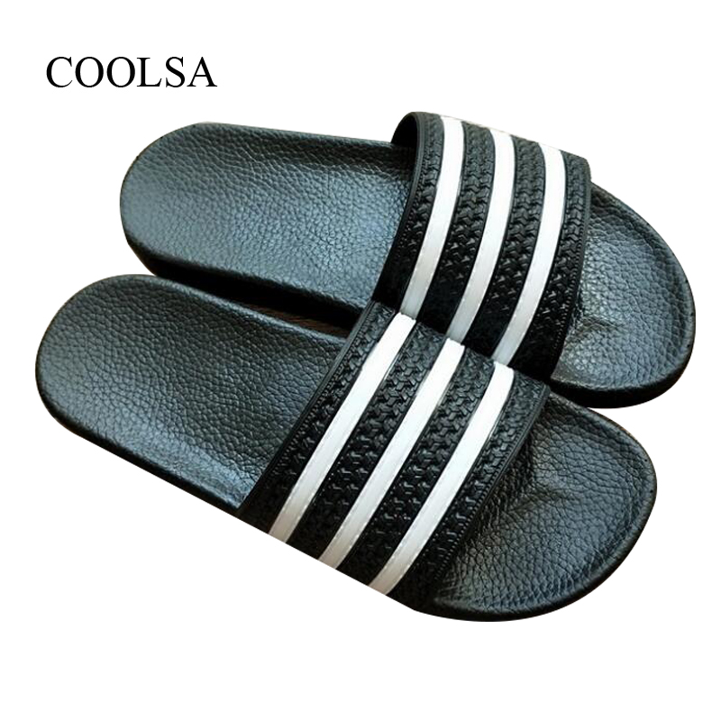 COOLSA Brand Quality Female Striped Home Bathroom Slippers Women's Beach Breathable Flip Flops Durable Soft Slides Wholesale Hot(China)