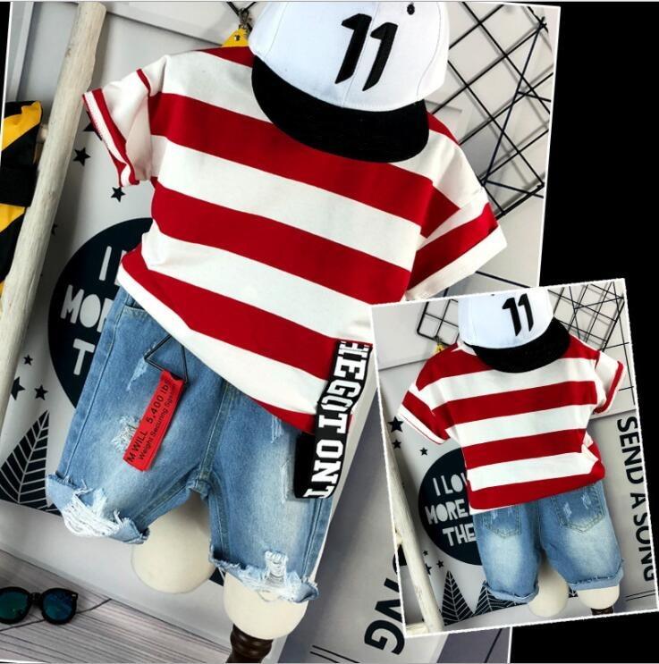 ><font><b>2PCS</b></font> <font><b>Toddler</b></font> <font><b>Kids</b></font> Baby Boy Summer Clothes Short sleeved striped T-shirt + denim shorts Hot Pant Outfits Casual Clothing Set