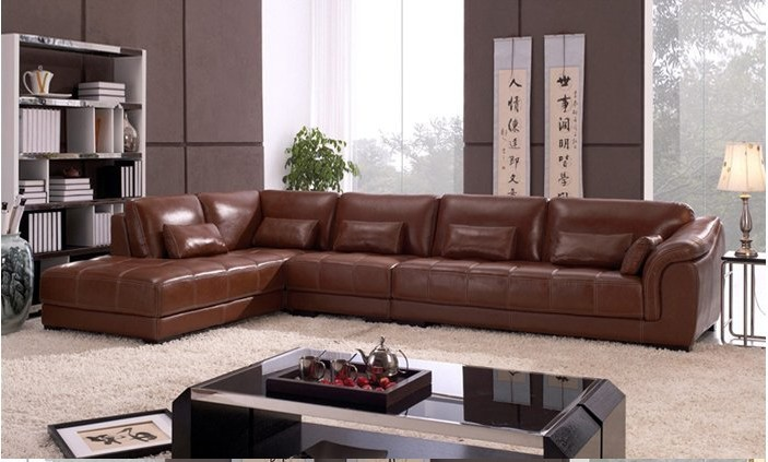 Free shipping living room sectional leather corner sofa for L shaped sofa designs living room