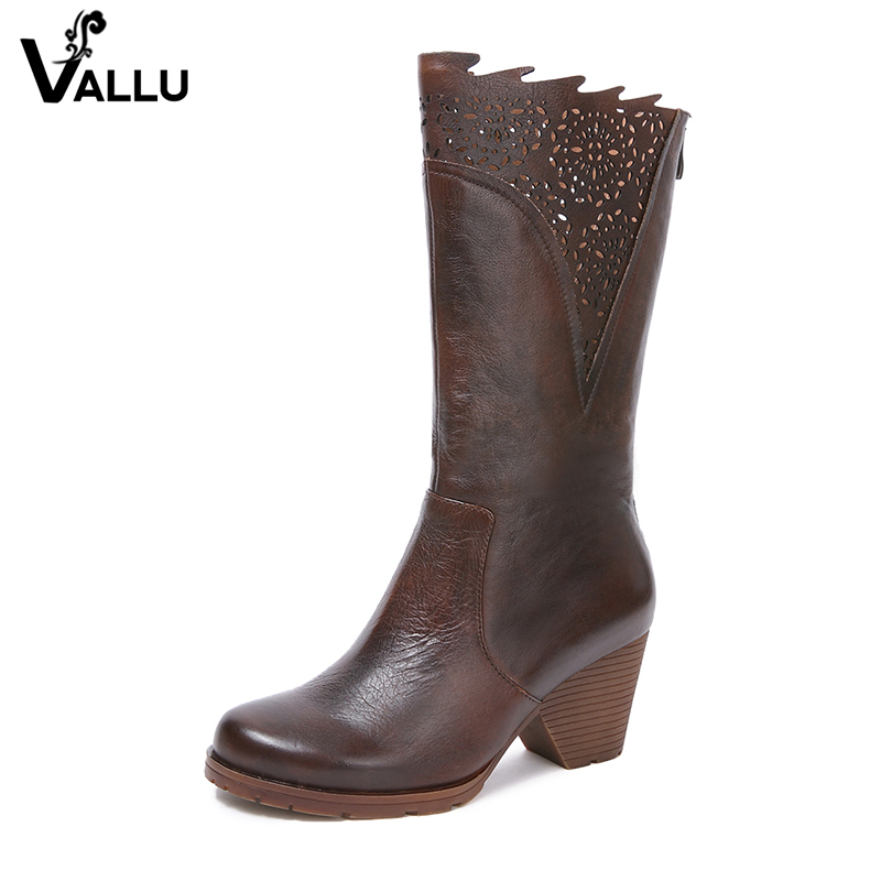 2018 New Arrival Handmade Vintage Women Boots Mid-Calf Round Toes Genuine Leather High Heel Boots 2018 new arrival fashion winter shoe genuine leather pointed toe high heel handmade party runway zipper women mid calf boots l11