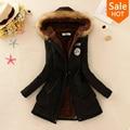 2015 Winter Women Parka Casual Outwear Military Hooded Coat Winter Jacket Women Fur Coats Women Overcoat Woman Clothes