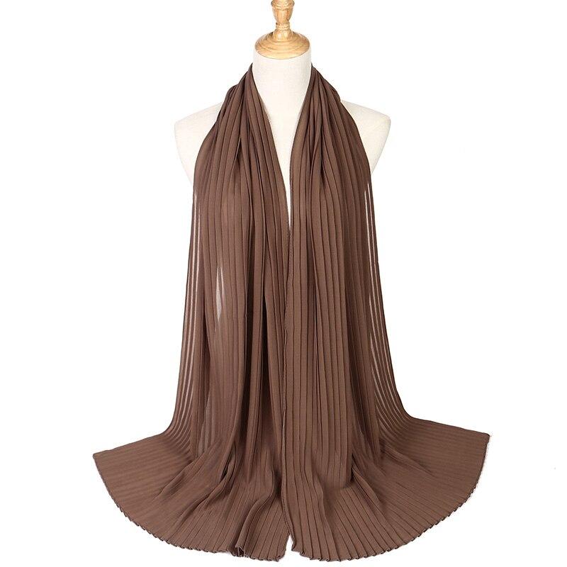 High Quality Chiffon Solid Crinkled Shawls Crumple Bubble   Scarf   Pleat Headband hijab Muslim   Wraps     Scarves     scarf