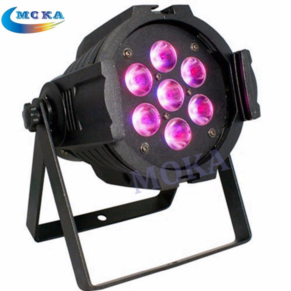 6PCS/LOT 7*10W Led Par Light RGBW 4IN1  Color Mixing Led Par Can lights 7*10W LED Mini PAR64 Light