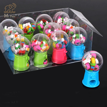 12pcs/box Cute Twisted Egg Creative Fruit Animal Shaped Rubber Eraser Candy Machine Kawaii School Stationery Students Gifts