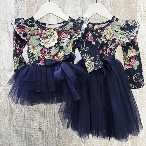 Emmababy Little/Big Sister Dresses Infant Baby Girl Floral Party Dress Family Matching Outfits
