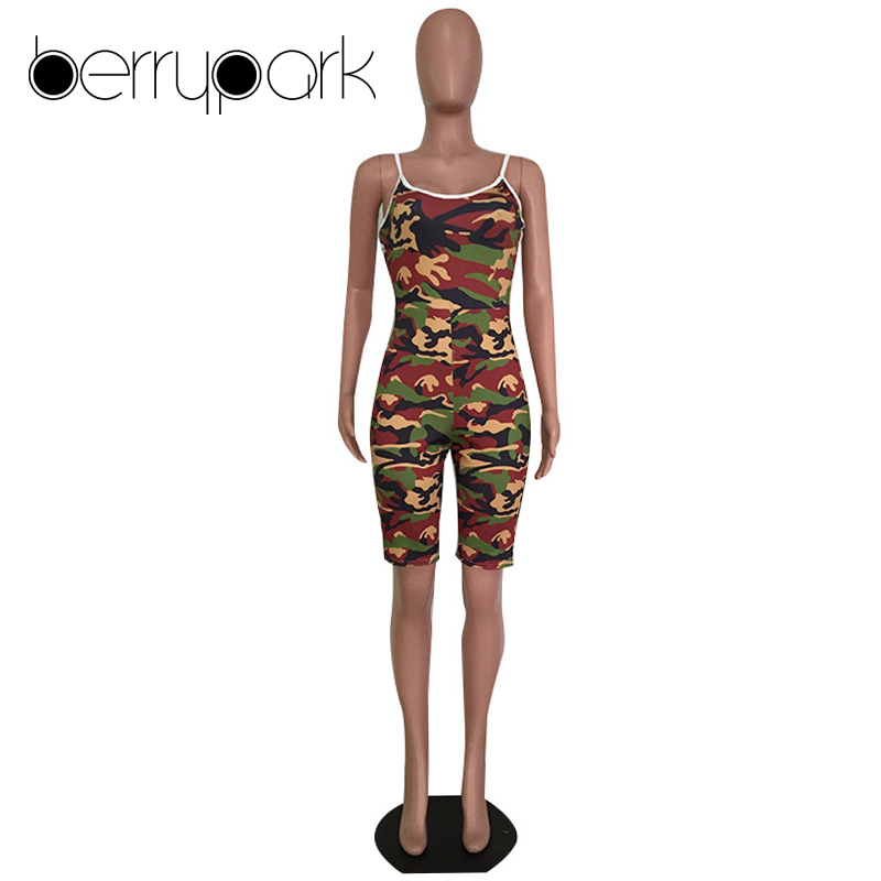 0f362f784f BerryPark Plus Size Camouflage Jumpsuit for Women Casual Side Stripe Street  Overalls Bodycon Shorts Bodysuit Camo Sexy Playsuit-in Rompers from Women s  ...