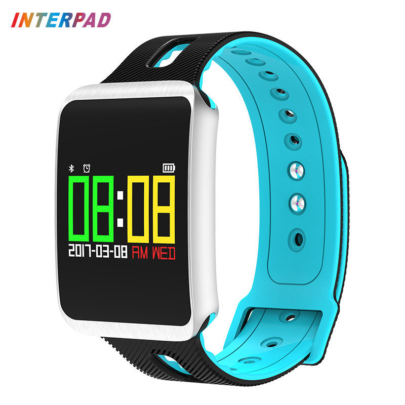 2018 Interpad Smart Bracelet With Blood Pressure Monitor Fitness Tracker Smart Band Heart Rate Monitor Wristband For iOS Android hold mi dm68 plus smart wristband blood pressure heart rate monitor bluetooth fitness bracelet call reminder activity tracker