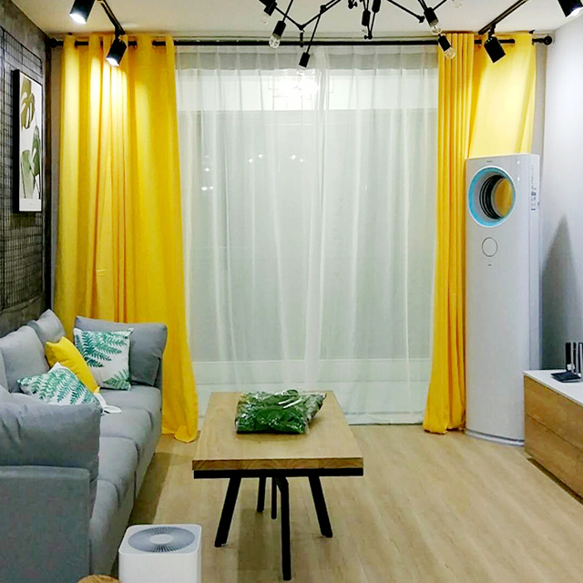 Beautiful Modern Simple Lemon Yellow Curtains For Living Room Bedroom