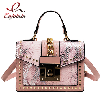New Style Snakeskin Chain Decoration Pu Women Daily Casual Handbag Doctor Bag Crossbody Female Bolsa Shoulder